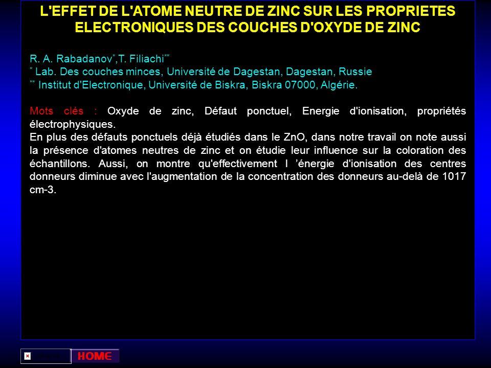 L EFFET DE L ATOME NEUTRE DE ZINC SUR LES PROPRIETES ELECTRONIQUES DES COUCHES D OXYDE DE ZINC