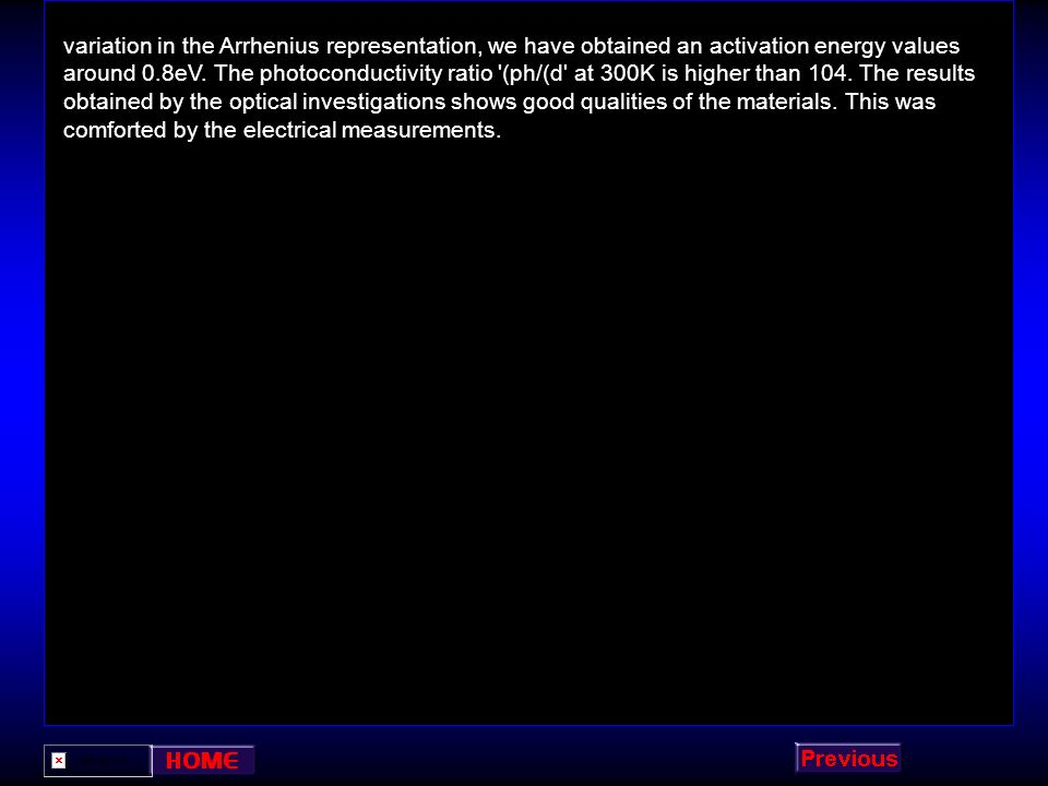 variation in the Arrhenius representation, we have obtained an activation energy values around 0.8eV.
