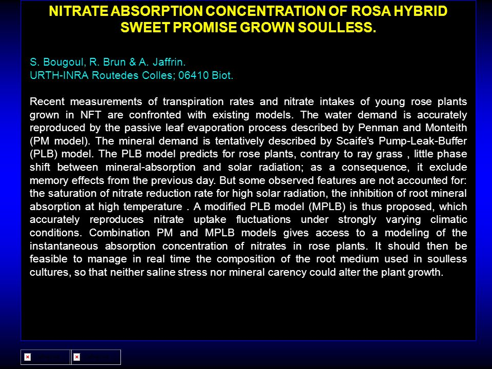 NITRATE ABSORPTION CONCENTRATION OF ROSA HYBRID SWEET PROMISE GROWN SOULLESS.