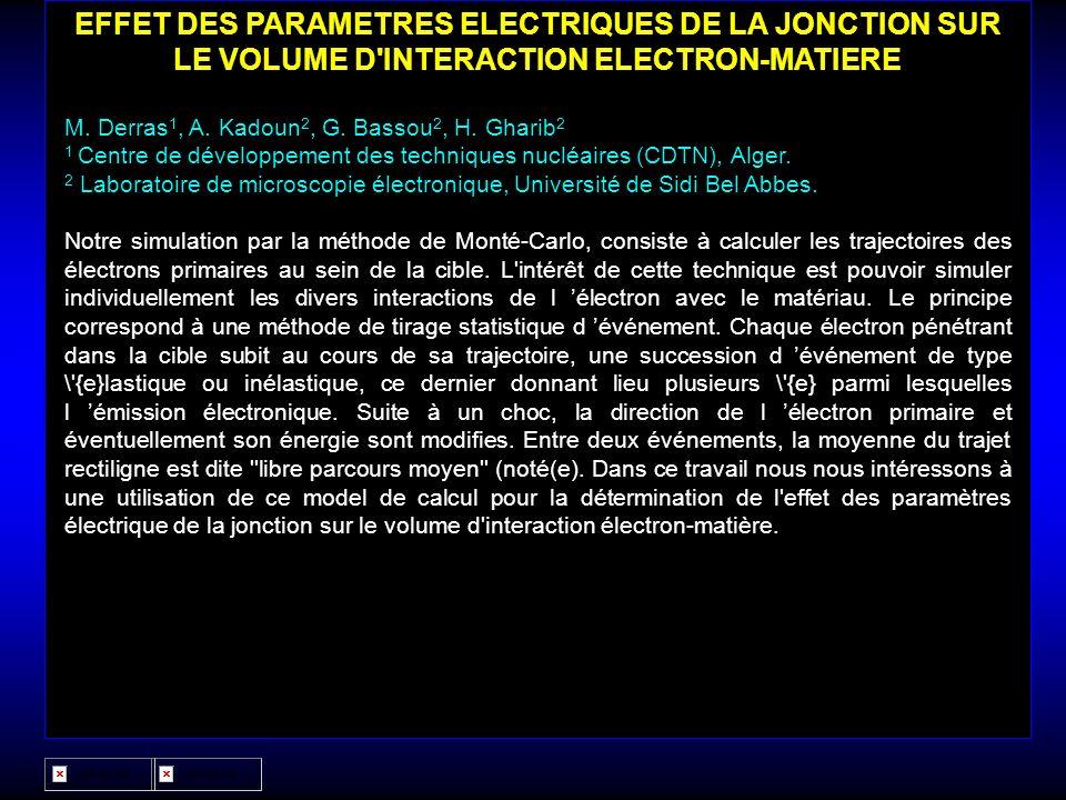 EFFET DES PARAMETRES ELECTRIQUES DE LA JONCTION SUR LE VOLUME D INTERACTION ELECTRON-MATIERE