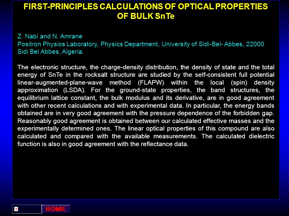 FIRST-PRINCIPLES CALCULATIONS OF OPTICAL PROPERTIES OF BULK SnTe