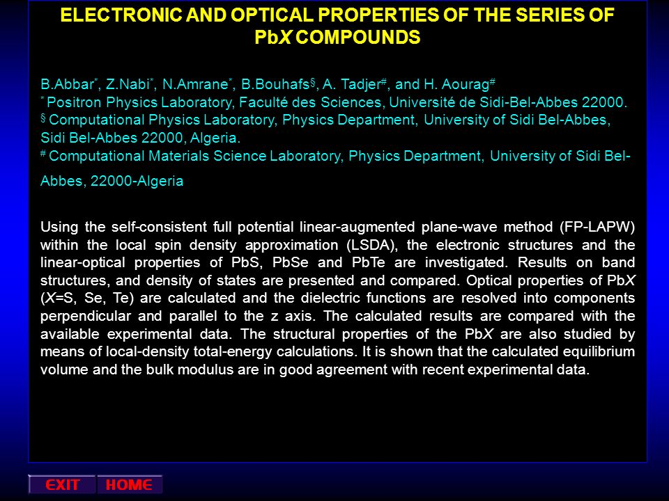 ELECTRONIC AND OPTICAL PROPERTIES OF THE SERIES OF PbX COMPOUNDS