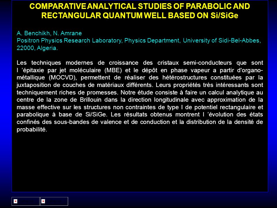 COMPARATIVE ANALYTICAL STUDIES OF PARABOLIC AND RECTANGULAR QUANTUM WELL BASED ON Si/SiGe