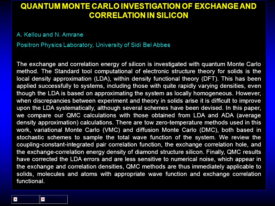 QUANTUM MONTE CARLO INVESTIGATION OF EXCHANGE AND CORRELATION IN SILICON