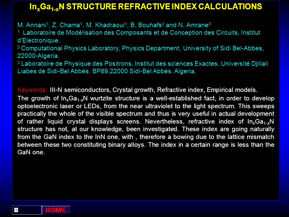 InxGa1-xN STRUCTURE REFRACTIVE INDEX CALCULATIONS