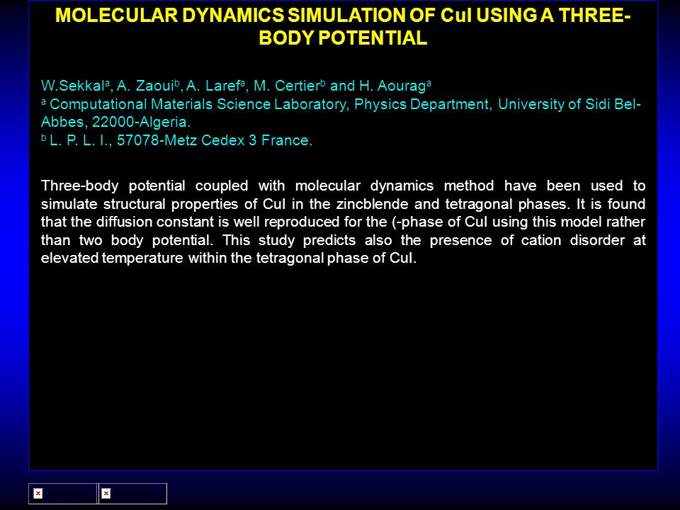 MOLECULAR DYNAMICS SIMULATION OF CuI USING A THREE-BODY POTENTIAL