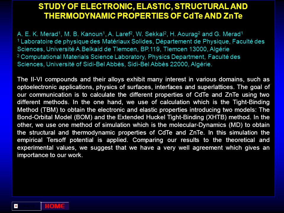 STUDY OF ELECTRONIC, ELASTIC, STRUCTURAL AND THERMODYNAMIC PROPERTIES OF CdTe AND ZnTe