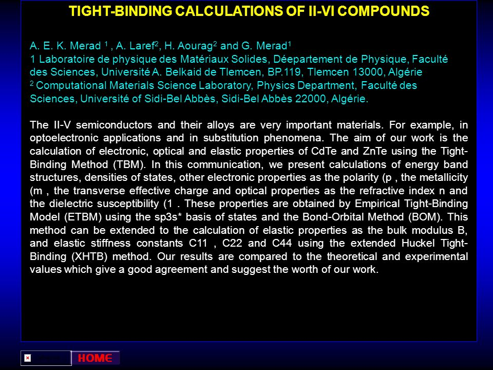 TIGHT-BINDING CALCULATIONS OF II-VI COMPOUNDS