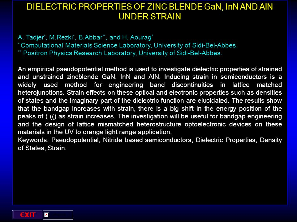 DIELECTRIC PROPERTIES OF ZINC BLENDE GaN, InN AND AlN UNDER STRAIN