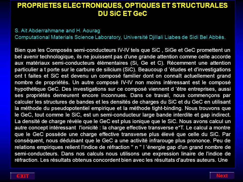 PROPRIETES ELECTRONIQUES, OPTIQUES ET STRUCTURALES DU SiC ET GeC