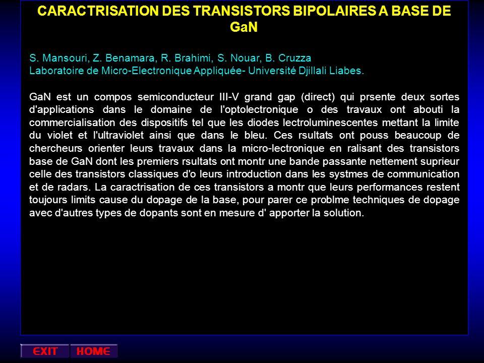 CARACTRISATION DES TRANSISTORS BIPOLAIRES A BASE DE GaN