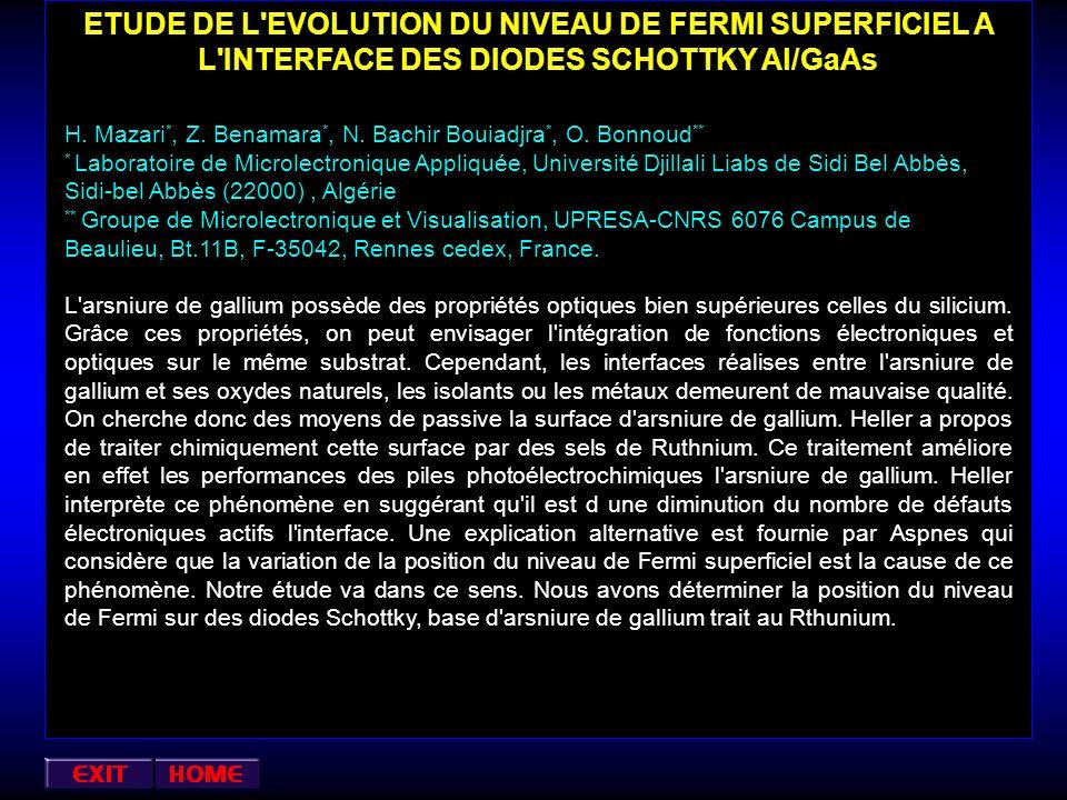 ETUDE DE L EVOLUTION DU NIVEAU DE FERMI SUPERFICIEL A L INTERFACE DES DIODES SCHOTTKY Al/GaAs