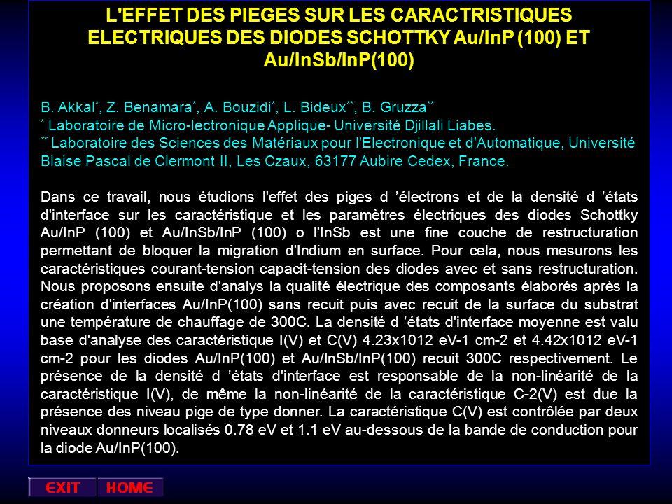 L EFFET DES PIEGES SUR LES CARACTRISTIQUES ELECTRIQUES DES DIODES SCHOTTKY Au/InP (100) ET Au/InSb/InP(100)