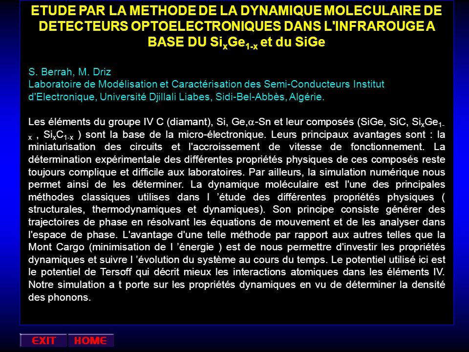 ETUDE PAR LA METHODE DE LA DYNAMIQUE MOLECULAIRE DE DETECTEURS OPTOELECTRONIQUES DANS L INFRAROUGE A BASE DU SixGe1-x et du SiGe