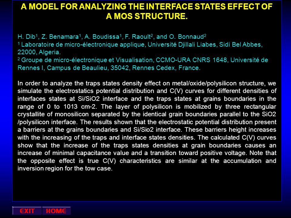 A MODEL FOR ANALYZING THE INTERFACE STATES EFFECT OF A MOS STRUCTURE.