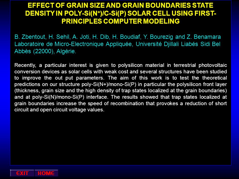 EFFECT OF GRAIN SIZE AND GRAIN BOUNDARIES STATE DENSITY IN POLY-Si(N+)/C-Si(P) SOLAR CELL USING FIRST-PRINCIPLES COMPUTER MODELING