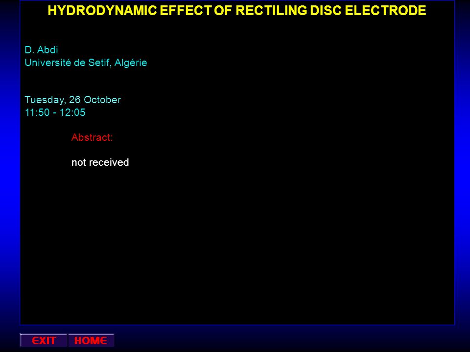 HYDRODYNAMIC EFFECT OF RECTILING DISC ELECTRODE
