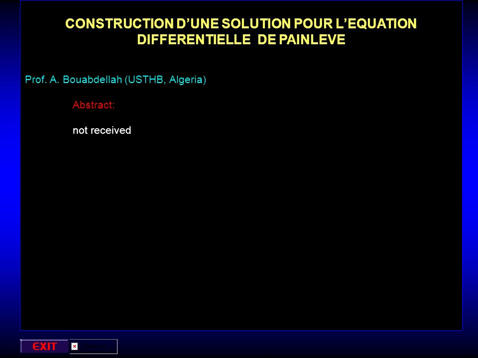 CONSTRUCTION D'UNE SOLUTION POUR L'EQUATION DIFFERENTIELLE DE PAINLEVE