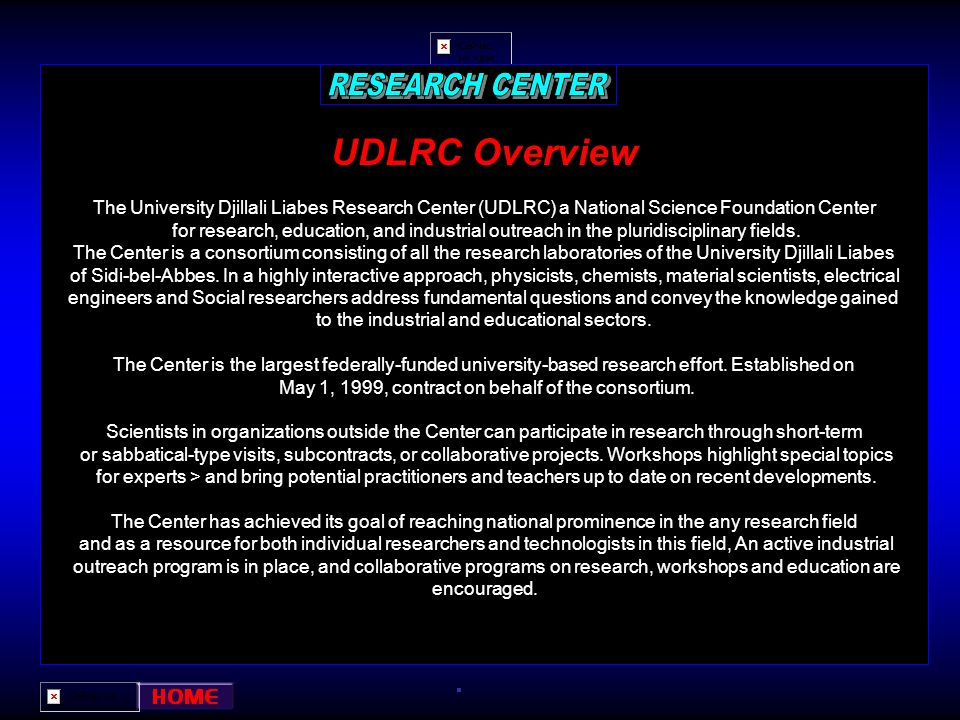 RESEARCH CENTER UDLRC Overview