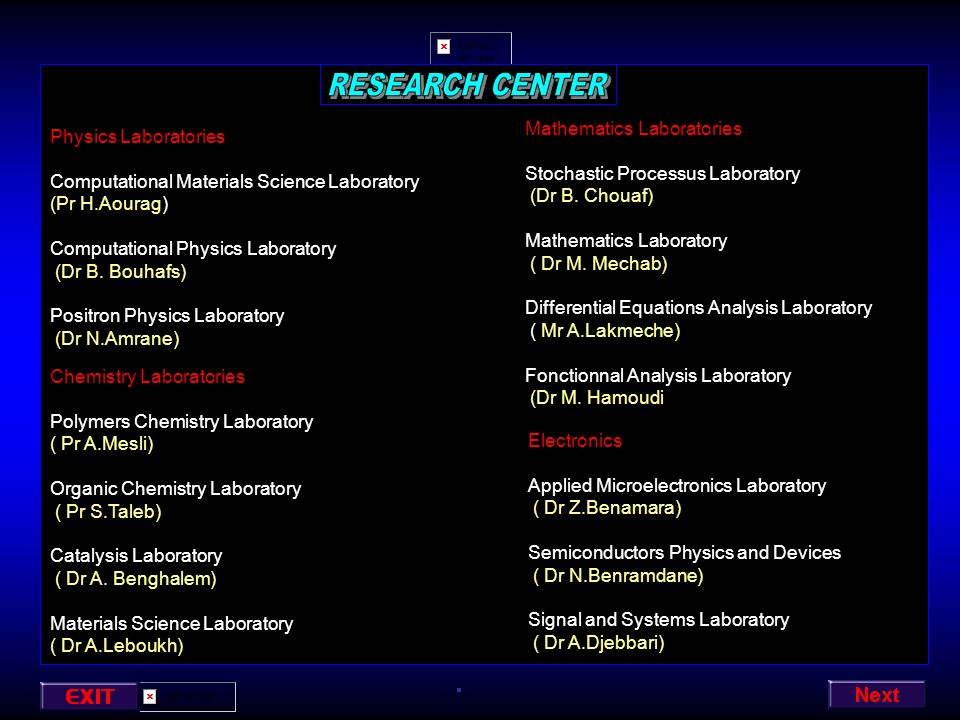 RESEARCH CENTER Mathematics Laboratories Physics Laboratories