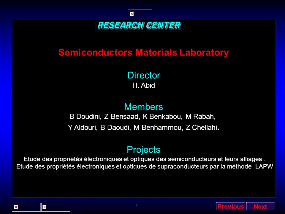 RESEARCH CENTER Semiconductors Materials Laboratory Director Members