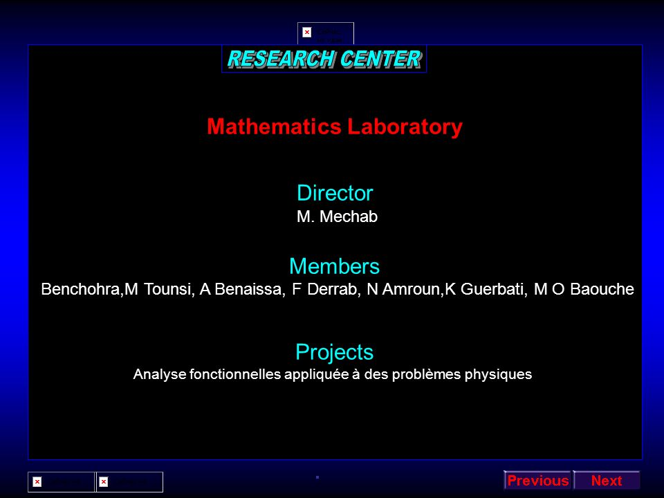 RESEARCH CENTER Mathematics Laboratory Director Members Projects