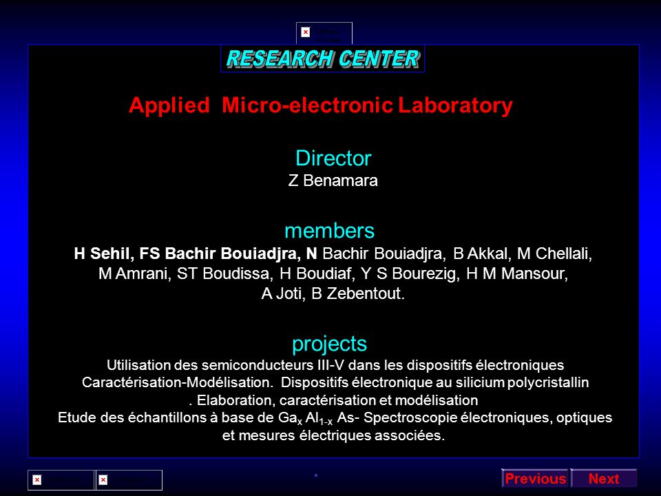 RESEARCH CENTER Applied Micro-electronic Laboratory Director members