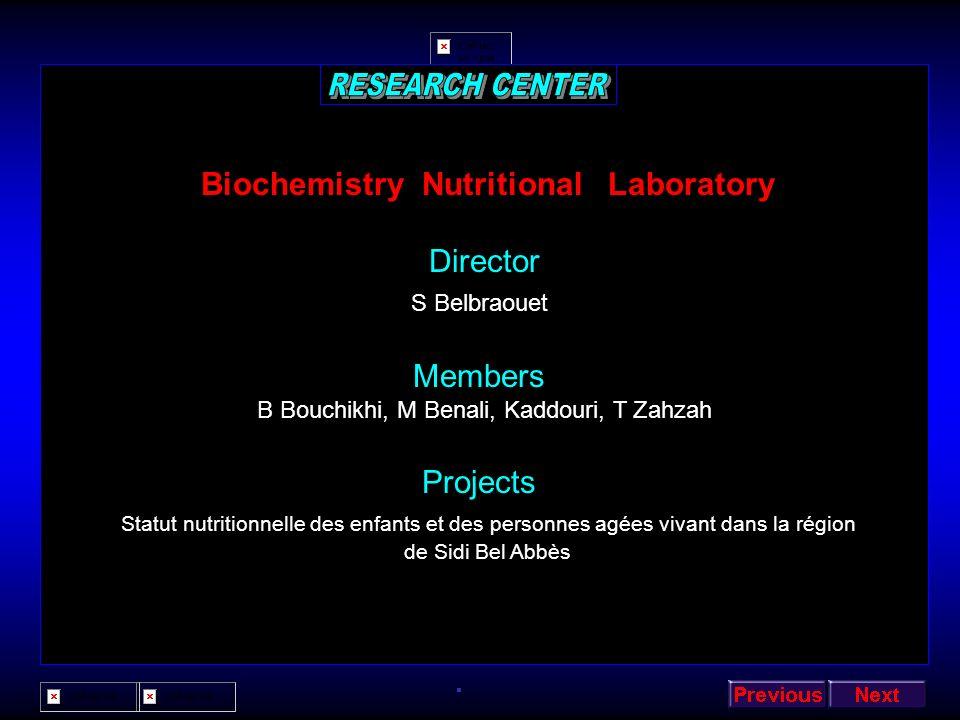Biochemistry Nutritional Laboratory