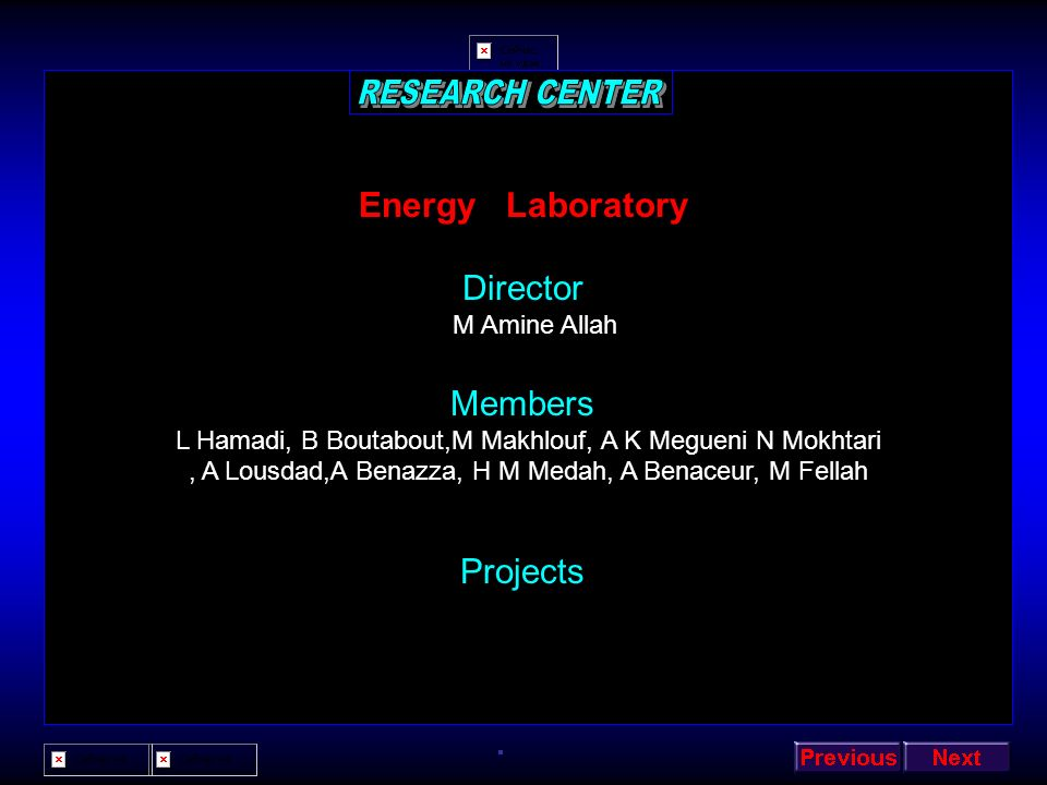 RESEARCH CENTER Energy Laboratory Director Members Projects