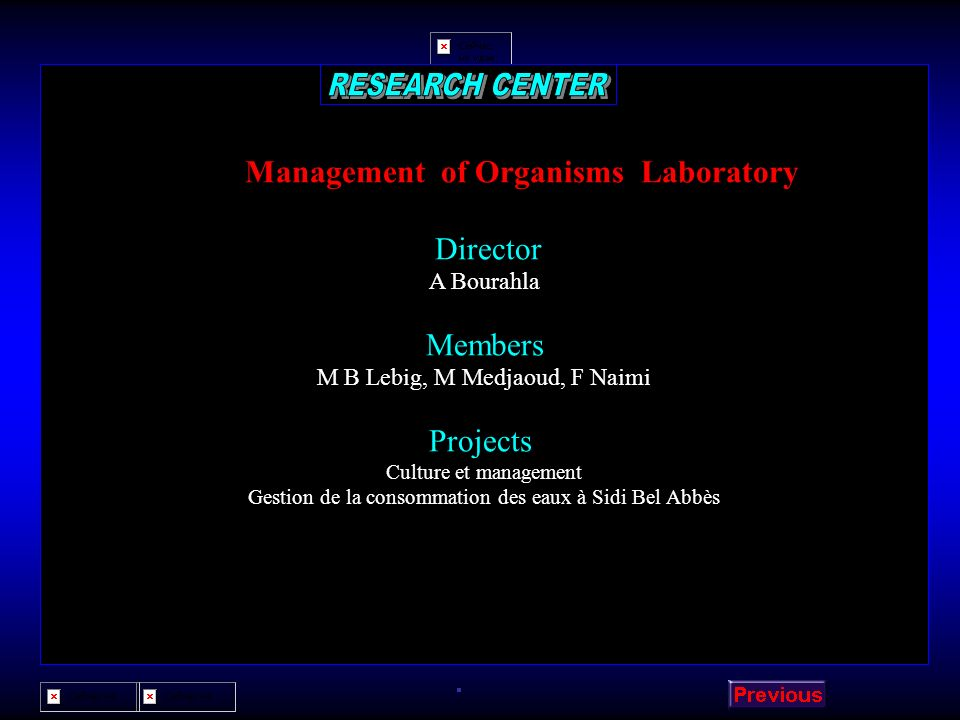 Management of Organisms Laboratory
