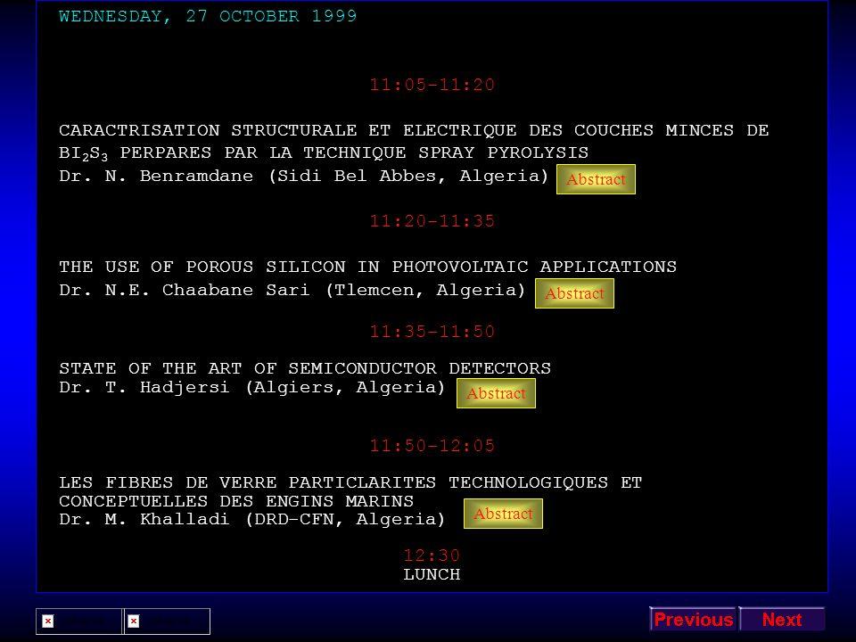Dr. N. Benramdane (Sidi Bel Abbes, Algeria) 11:20-11:35