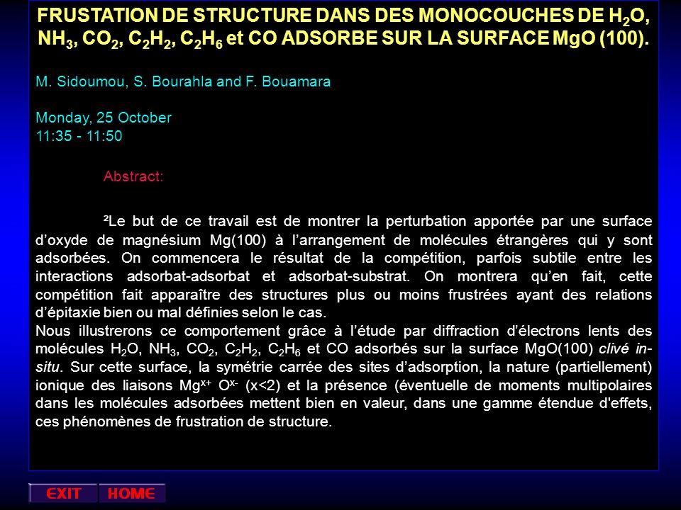 FRUSTATION DE STRUCTURE DANS DES MONOCOUCHES DE H2O, NH3, CO2, C2H2, C2H6 et CO ADSORBE SUR LA SURFACE MgO (100).