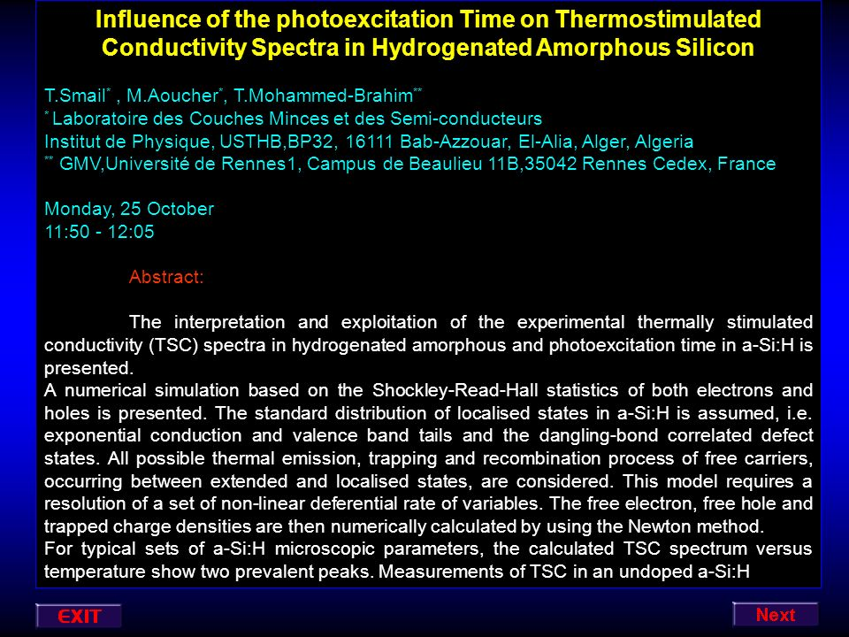 Influence of the photoexcitation Time on Thermostimulated