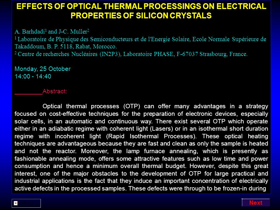 EFFECTS OF OPTICAL THERMAL PROCESSINGS ON ELECTRICAL PROPERTIES OF SILICON CRYSTALS