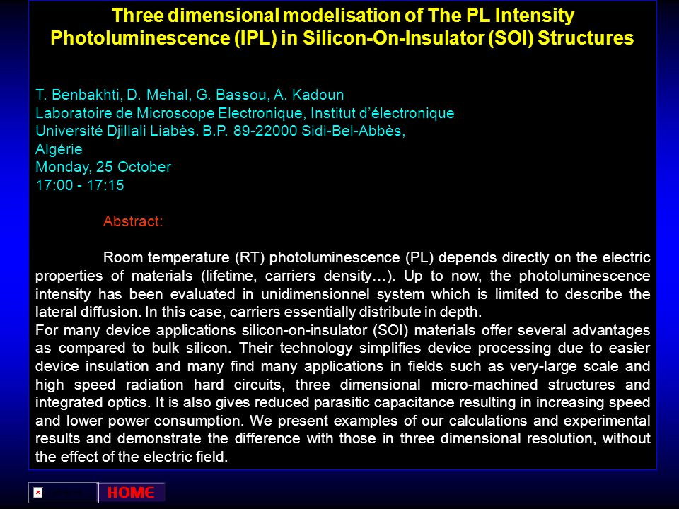 Three dimensional modelisation of The PL Intensity Photoluminescence (IPL) in Silicon-On-Insulator (SOI) Structures