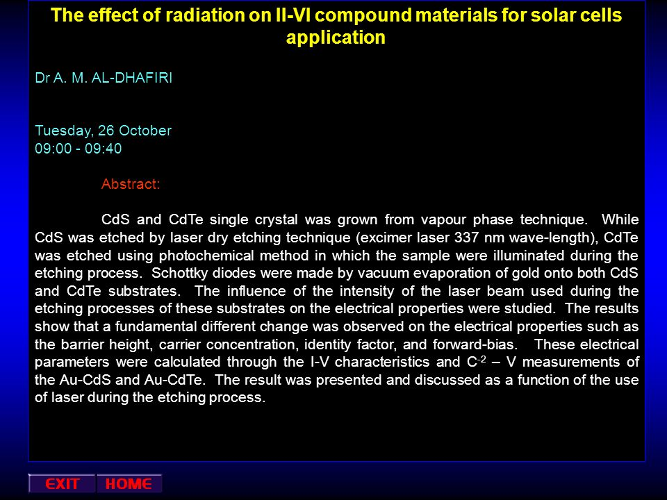 The effect of radiation on II-VI compound materials for solar cells application