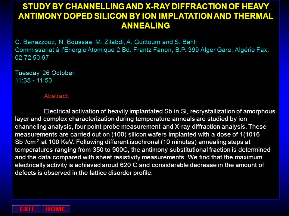 STUDY BY CHANNELLING AND X-RAY DIFFRACTION OF HEAVY ANTIMONY DOPED SILICON BY ION IMPLATATION AND THERMAL ANNEALING