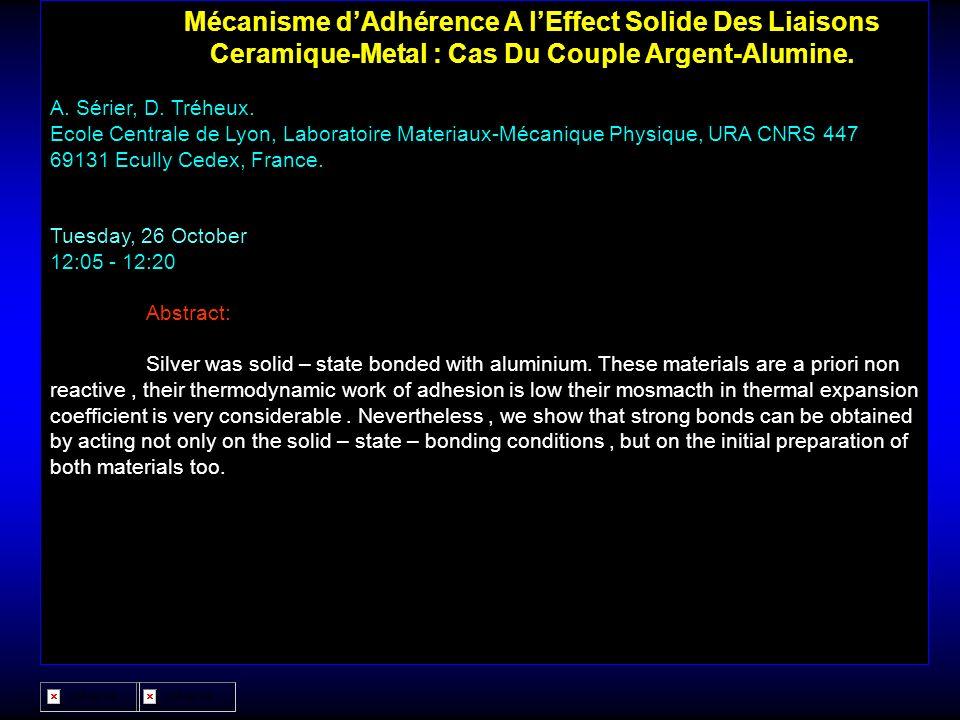 Mécanisme d'Adhérence A l'Effect Solide Des Liaisons Ceramique-Metal : Cas Du Couple Argent-Alumine.