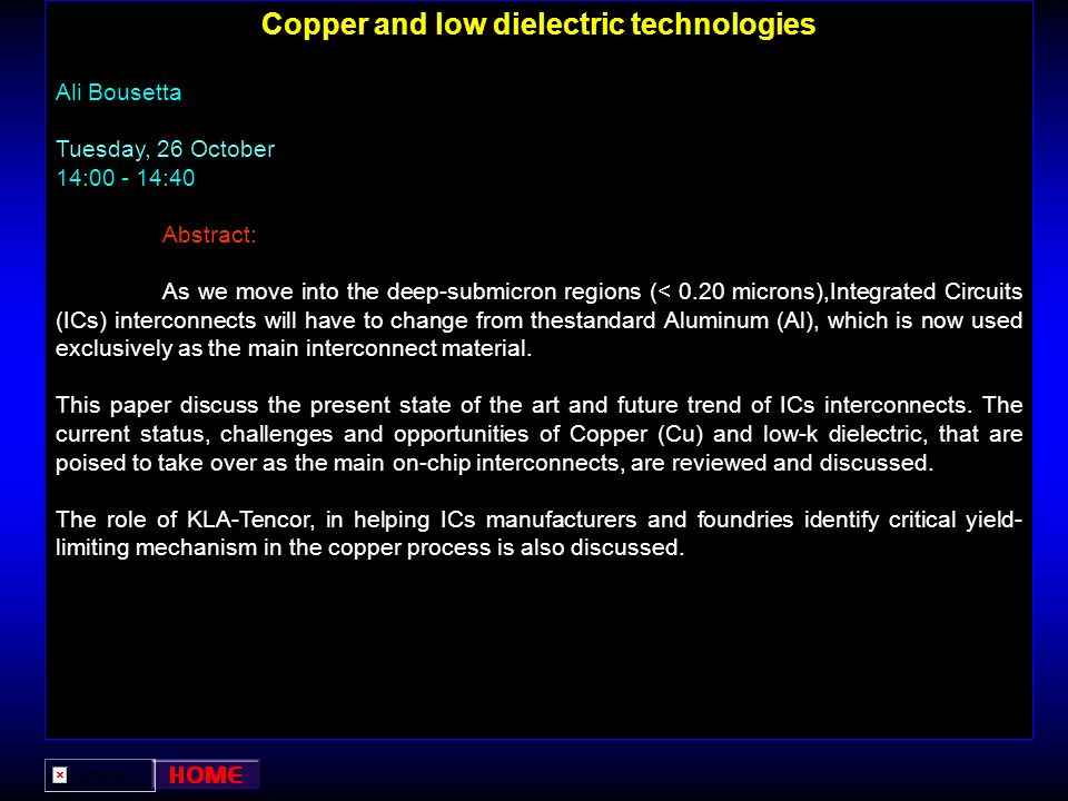 Copper and low dielectric technologies