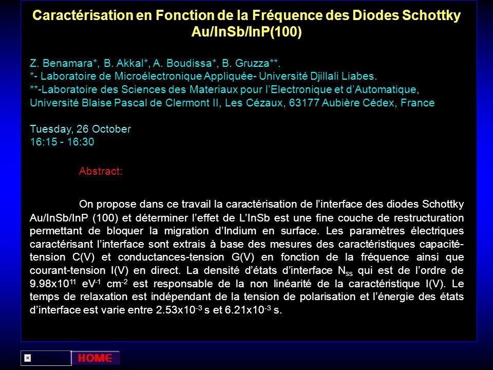 Caractérisation en Fonction de la Fréquence des Diodes Schottky Au/InSb/InP(100)