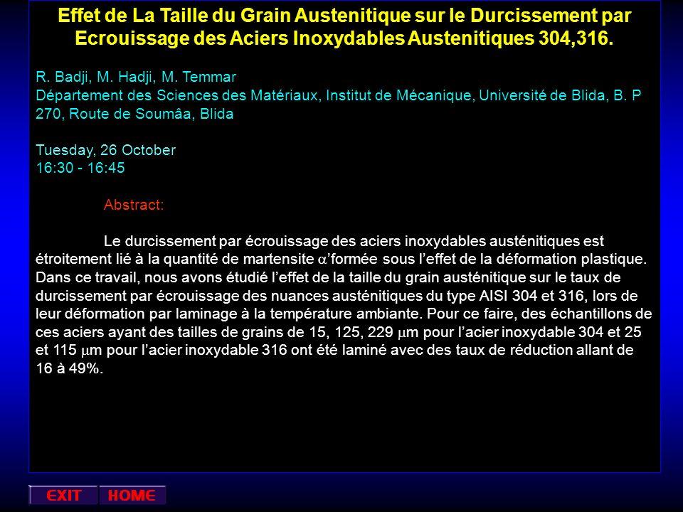 Effet de La Taille du Grain Austenitique sur le Durcissement par Ecrouissage des Aciers Inoxydables Austenitiques 304,316.