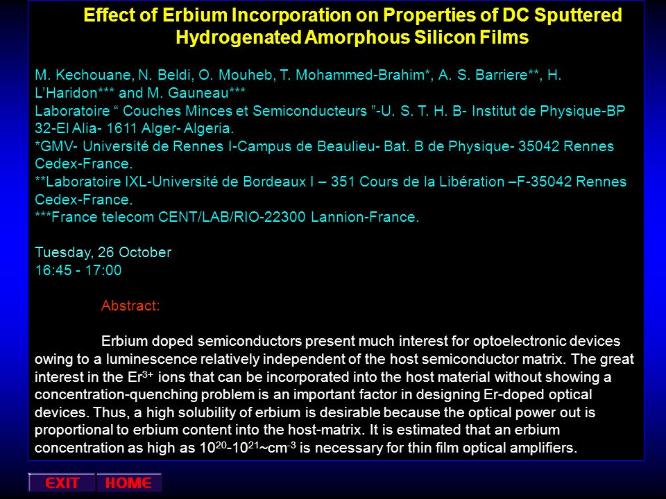 Effect of Erbium Incorporation on Properties of DC Sputtered Hydrogenated Amorphous Silicon Films