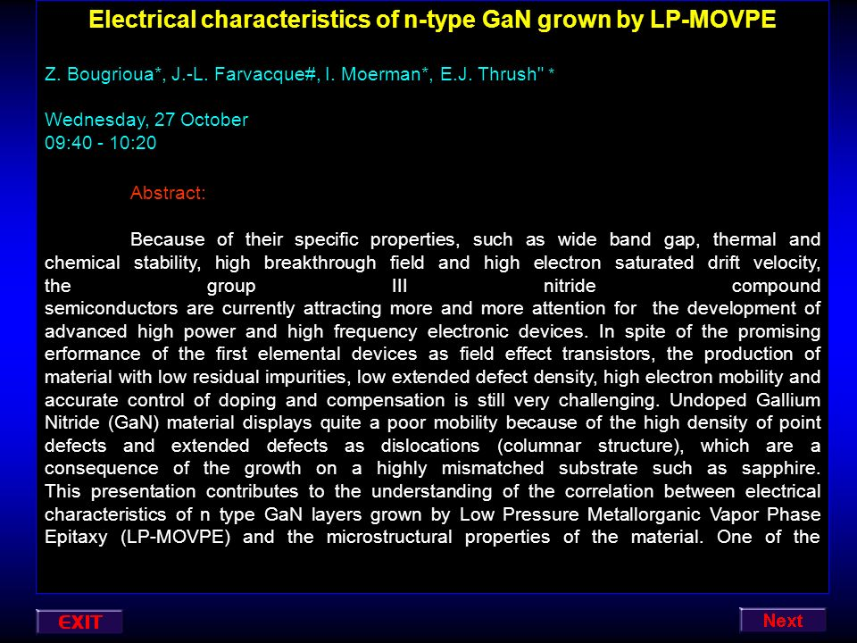 Electrical characteristics of n-type GaN grown by LP-MOVPE