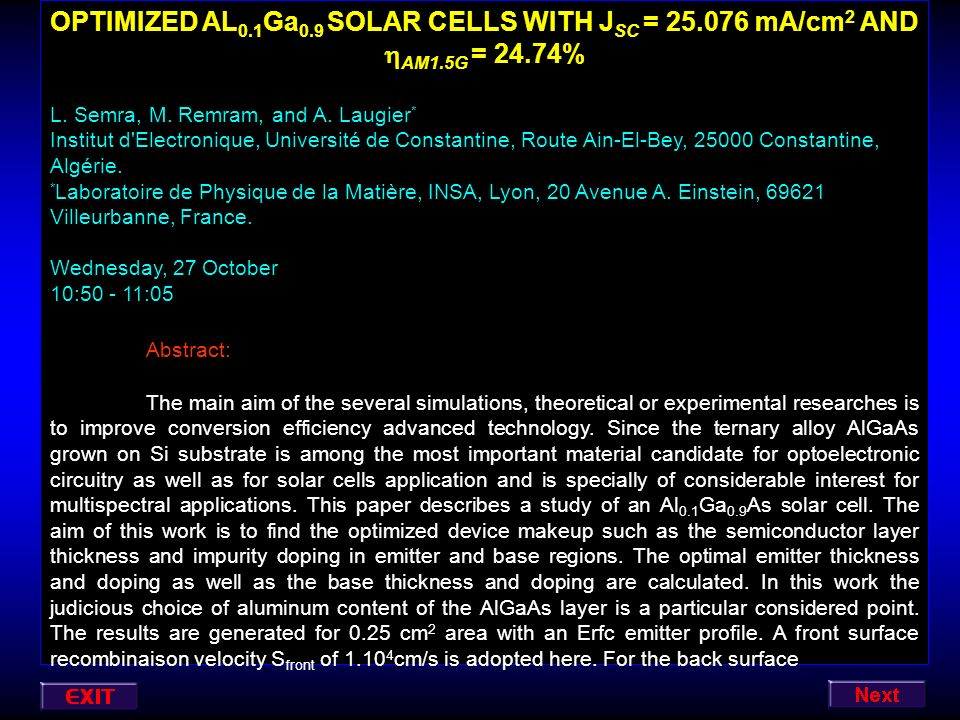 OPTIMIZED AL0. 1Ga0. 9 SOLAR CELLS WITH JSC = 25. 076 mA/cm2 AND AM1