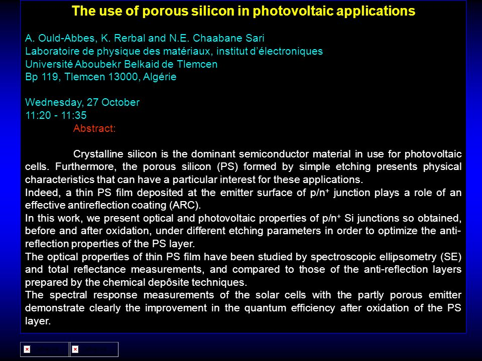 The use of porous silicon in photovoltaic applications