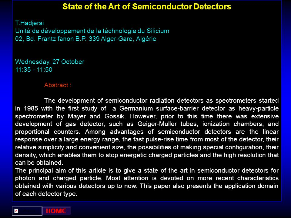 State of the Art of Semiconductor Detectors