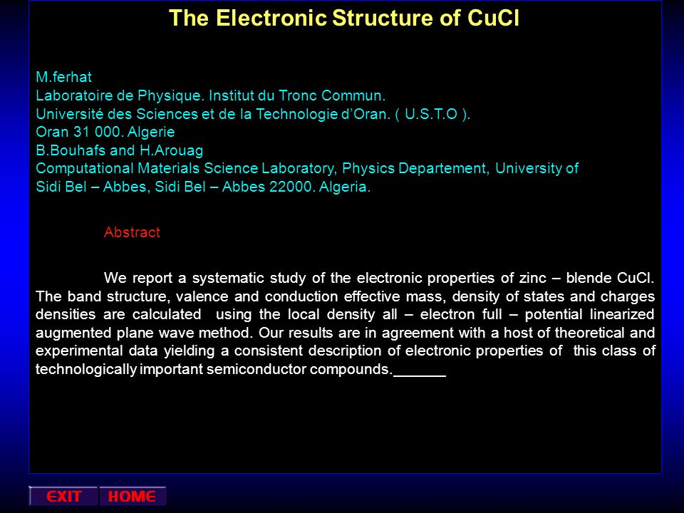 The Electronic Structure of CuCl