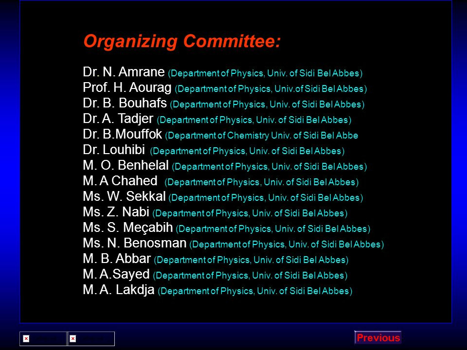 Organizing Committee: