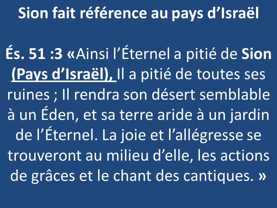 Sion fait référence au pays d'Israël És