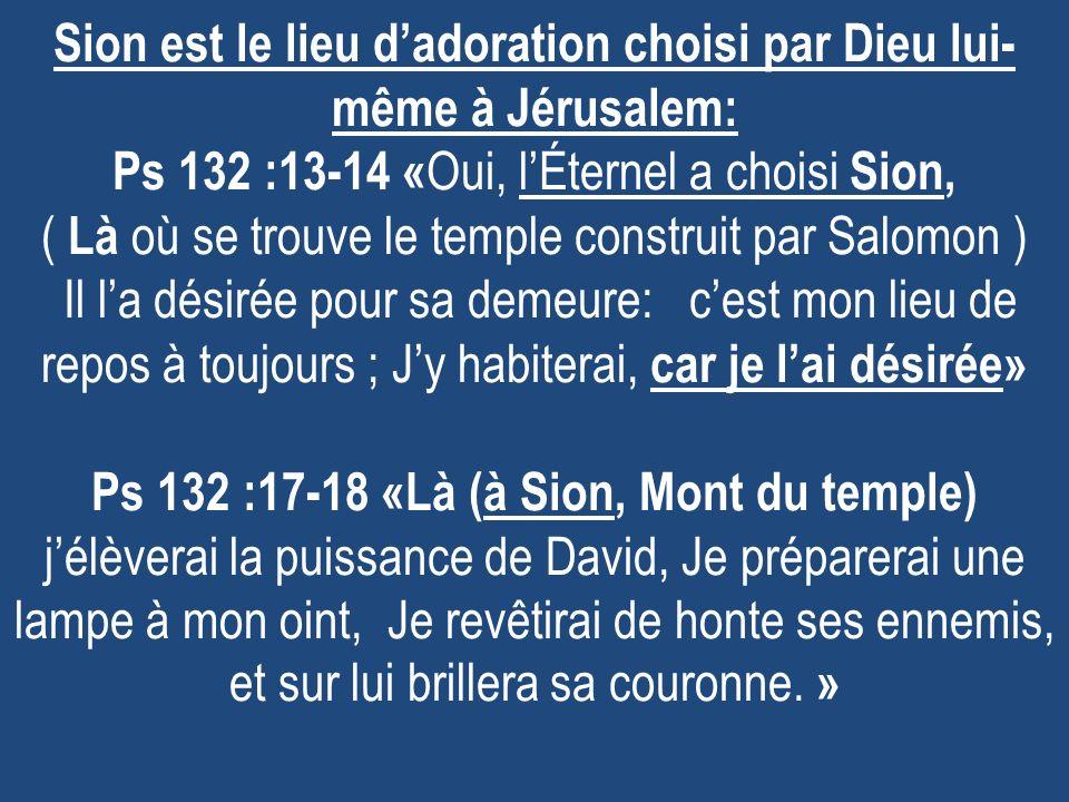 Sion est le lieu d'adoration choisi par Dieu lui-même à Jérusalem: Ps 132 :13-14 «Oui, l'Éternel a choisi Sion, ( Là où se trouve le temple construit par Salomon ) Il l'a désirée pour sa demeure: c'est mon lieu de repos à toujours ; J'y habiterai, car je l'ai désirée» Ps 132 :17-18 «Là (à Sion, Mont du temple) j'élèverai la puissance de David, Je préparerai une lampe à mon oint, Je revêtirai de honte ses ennemis, et sur lui brillera sa couronne.